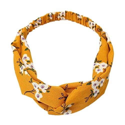 OWMEOT Women Headband Boho Floal Style Criss Cross Head Wrap Hair Band (Multicolor K)