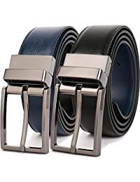 """Men's Dress Belt Leather Reversible 1.25"""" Wide Rotated Buckle Gift Box"""
