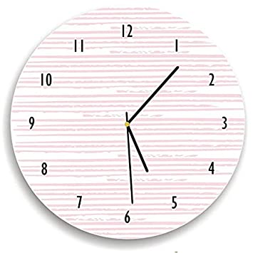 Pálido color rosa patrón de línea de reloj antiguo reloj de pared de madera decoración para salón nursety madera reloj de pared Arte para niños Cocina ...