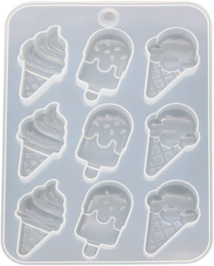 angwang Mold,Simulated Food Resin Mold Ice Cream Cones Popsicle Cute Food Keychain Pendant Silicone Resin Mold Jewelry Making Tools White
