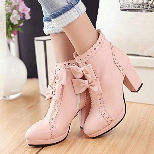 AIYOUMEI Womens Round Toe Bootie Thick Heel Autumn Winter Ankle Bootie with Bowtie Pink yqb4XJ