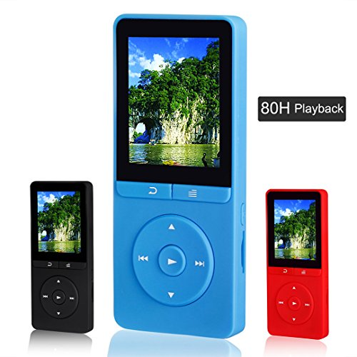 FecPecu Portable 8GB MP3 Player, Expandable Up To 64GB, Blue