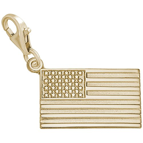 Gold American Flag Charm - 9