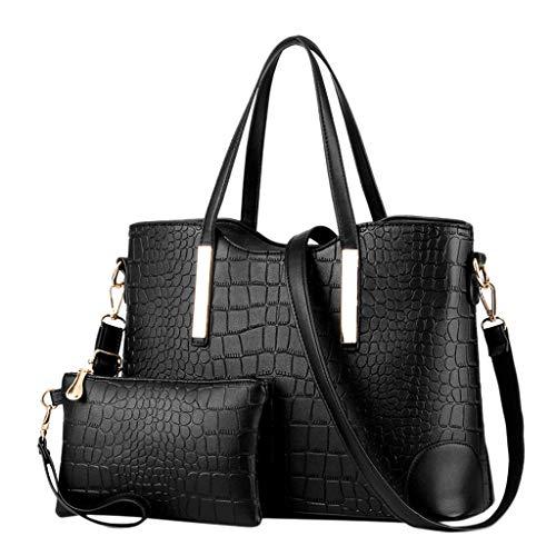 Dainzuy Handbags for Women Shoulder Bag Tote Satchel Hobo 2Pcs Purse Set Top Handle Messenger Bags Wallets Black (Handmade Accent Handbag Indian)