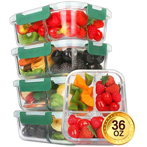 Portion Control Containers - Glass Meal Prep Containers [5-Pack,36oz] - KOMUEE Food Prep Containers 3 Compartment with LIFETIME Lids Meal Prep - Glass Food Storage Containers Airtight - Lunch Containers Portion Control Containers