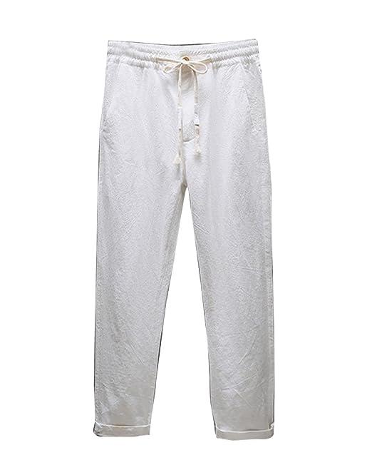 Hombre Pantalones Recortados Respirable Casual Cintura Elástica Pantalones De Lino Tallas Grandes: Amazon.es: Ropa y accesorios