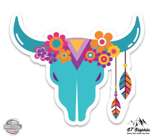 Vinyl Sticker Waterproof Decal Floral Horned Bull
