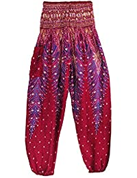 Thai Style Pants Wine Summer Beach Bohemian High Waist Harem Loose Women Trousers