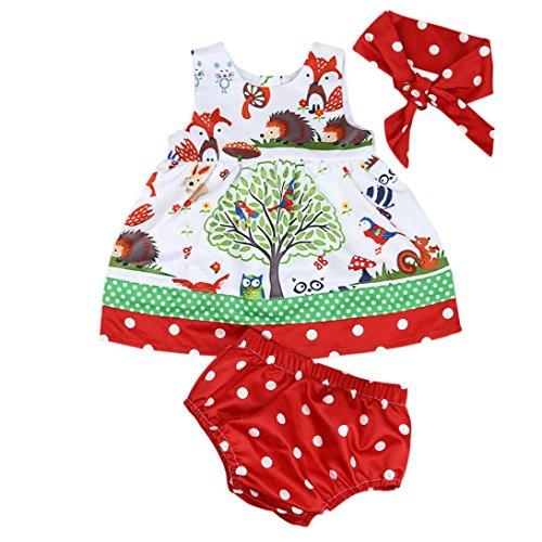 Baby Phat Cap - Jarsh Toddler Kid Baby Girl Cute Cartoon Animal Owl Tree Bird Sleeveless Tops Dress+Dot Shorts+Headband Set (12M(6-12Month))