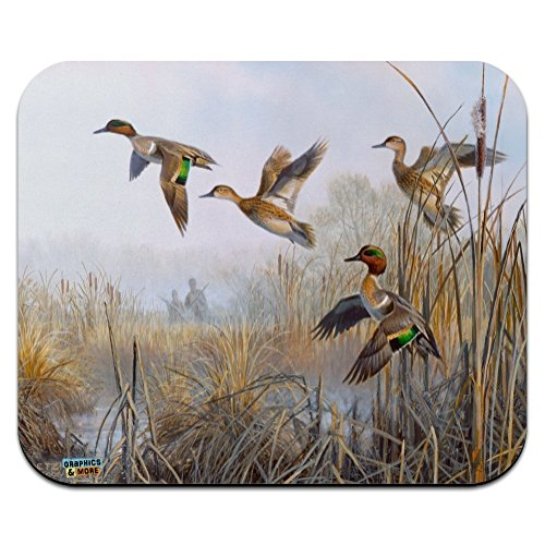 Green-Winged Teal Ducks Taking Flight Hunters Hunting Low Profile Thin Mouse Pad Mousepad
