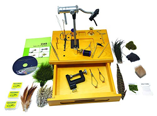 Creative Angler Wooden Fly Tying Station with Rotary Vise, Tying Tools, and Tying Materials