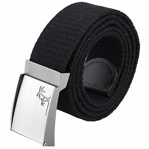 "moonsix Canvas Web Belts for Men,Solid Color Military Style 1.5"" Wide Flip-Top Belt,Black"