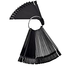 MagiDeal Protable Nail Art Tip Color Sticks Display Nail Swatches Fan Wheel Black False Practice Board 50 Pieces