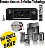Denon AVR-S910W 7.2 Full 4K Ultra HD Channel Receiver With Bluetooth/HDCP2.2 + Definitive Technology Pro Cinema 800 System Black + Monster - Platinum XP Clear Jacket MKIII 50' Compact Speaker Cable - Clear/Copper Bundle
