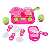 11Pcs Pink Kids House children Kitchen Toys For Girls Cooking Food Dishes Cookware Pretend & Play Kitchen