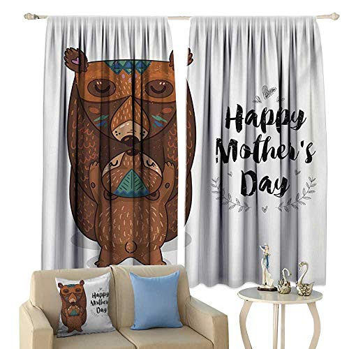 Insulated Sunshade Curtain Quote Happy Mothers Day Greeting with Cartoon Style Mom and Baby Bears Hugging Noise Reducing Brown Black and -