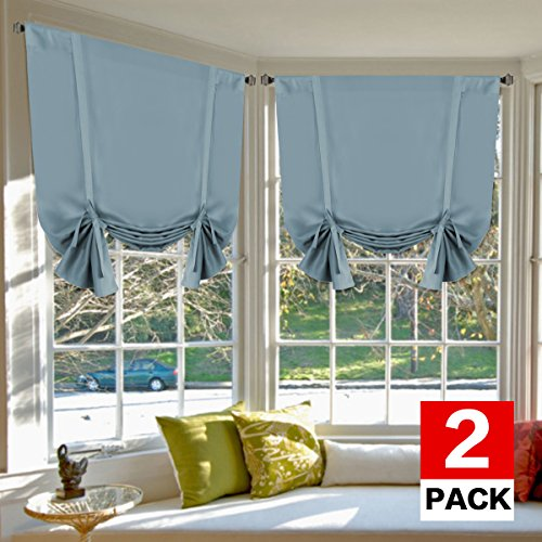 H.VERSAILTEX Thermal Insulated Blackout Tie Up Curtains Adjustable Window Shade for Living Room, Rod Pocket 2-Pack, 42 x 63 Inch Long - Solid in Stone Blue
