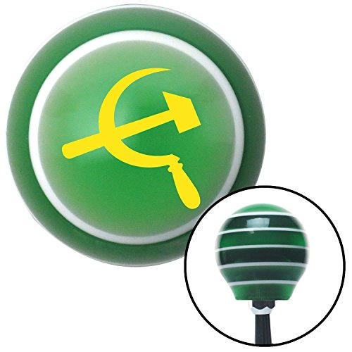 (American Shifter 128672 Green Stripe Shift Knob with M16 x 1.5 Insert (Yellow Hammer & Sickle))