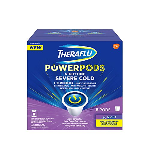 Theraflu PowerPods Nighttime Severe Cold Medicine, Honey Lemon with Chamomile & White Tea Flavors, 8 count