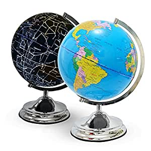 """10"""" Illuminated World Globe for Kids, Constellation Globe with Detailed World Map, LED Night Light and Stand - Highly Educational Gift"""
