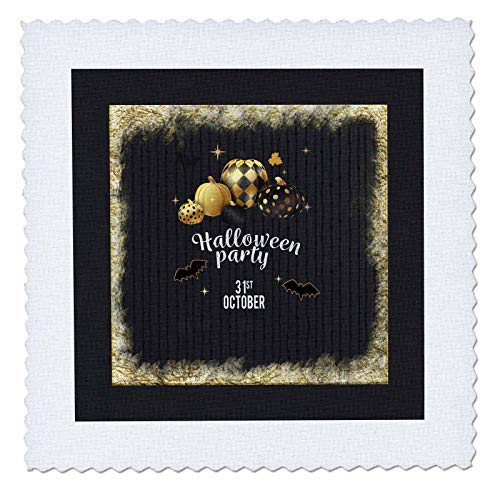 3dRose Beverly Turner Halloween Design - Designer Pumpkins, Leaves, and Bats, Halloween Party, October 31, Gold - 14x14 inch Quilt Square (qs_300620_5) -