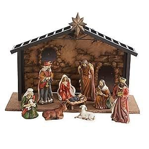 Kurt Adler 10-Piece Porcelain Christmas Manger Nativity Set