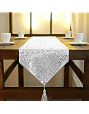 ShinyBeauty Shimmer Silver -Sequin Table Runner Tassel-30x180cm, Glitter Round Sequins Fabric for Table Runners in Party Wedding Banquet Table Linen Layout or Decoration