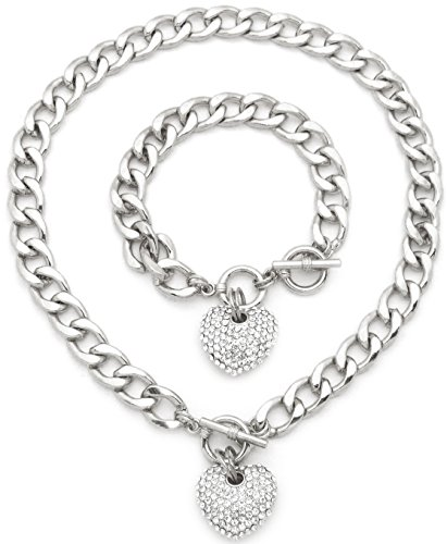 Tiffany Silver Plated Necklace - Fashion 21 Women's Rhinestone Filled 3D Heart Pendant 16