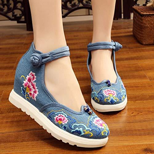 Blu madre stile tacco 37 alto Scarpe Scarpe casual antiscivolo con Blu etnico Colore XHX Scarpe in in estiva ricamato traspiranti e dimensioni stile ricamo stoffa Scarpe x4qnaZSY
