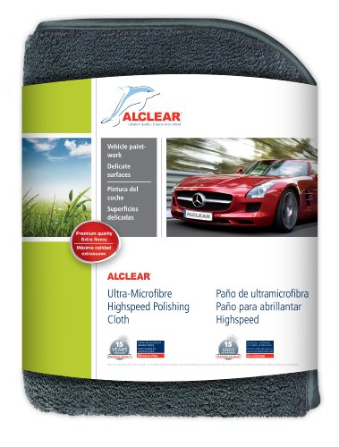 ALCLEAR 822203 Ultra-microfiber Cloth High-Speed for high glass polishing. Anthracite. Size: 15.75 x 15.75 in.