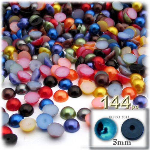 The Crafts Outlet 144-Piece Pearl Finish Half Dome Round Beads, 5mm, Jewel Tone Mix