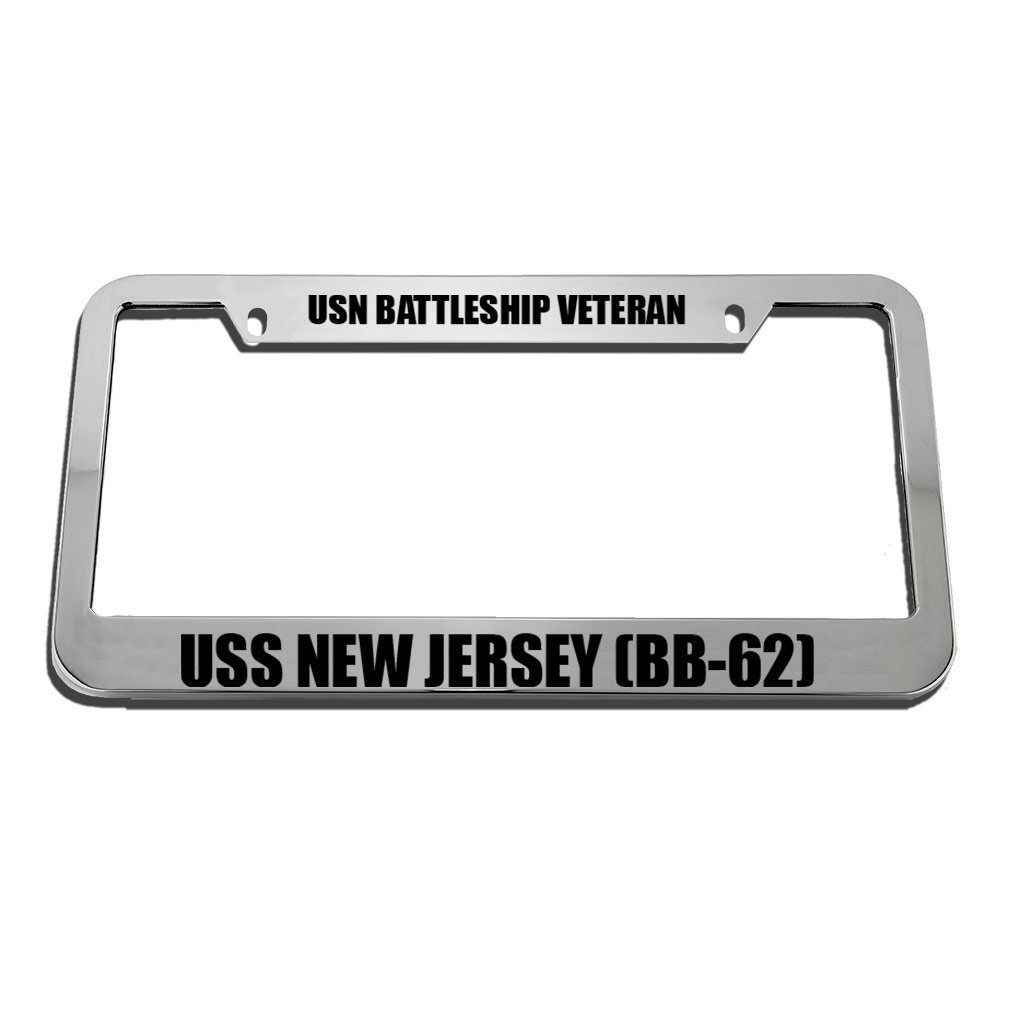 Bb-62 Zinc Metal License Plate Frame Car Auto Tag Holder Speedy Pros USN Battleship Veteran USS New Jersey Chrome 2 Holes