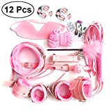LUOEM Under Bed System Handcuffs Kit Soft Adjustable Hand Ankle Wrist Leg Cuffs, Eye Mask Blindfold Other Fun Toys for Women Men,Pack of 12(Pink)