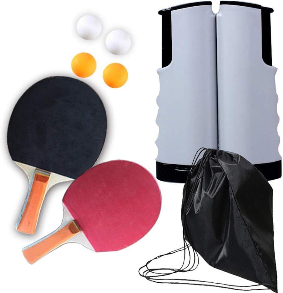 Bcamelys Red de Tenis de Mesa, Raquetas de Tenis de Mesa, Portátil Retráctil Table Tennis Net + 2 Palas Ping Pong + 4 Pelotas Ping Pong para Interior al Aire Libre Regalo