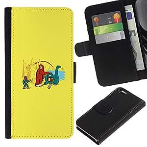 Stuss Case / Funda Carcasa PU de Cuero - Bigfoot & Loch Ness - Funny - Apple Iphone 6