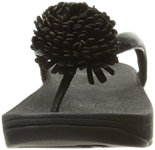 FitFlop Womens Flowerball Toe-Post Leather Sandals Negro