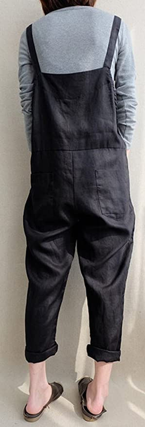 237bac250402 Amazon.com  Foucome Women Large Plus Size Baggy Overalls Casual Wide Leg  Pants Sleeveless Rompers Jumpsuit Vintage Haren Overalls  Clothing