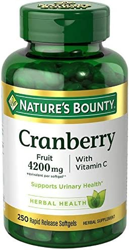 Nature s Bounty Cranberry Fruit 4200mg Plus Vitamin C 250 Softgels Pack of 2
