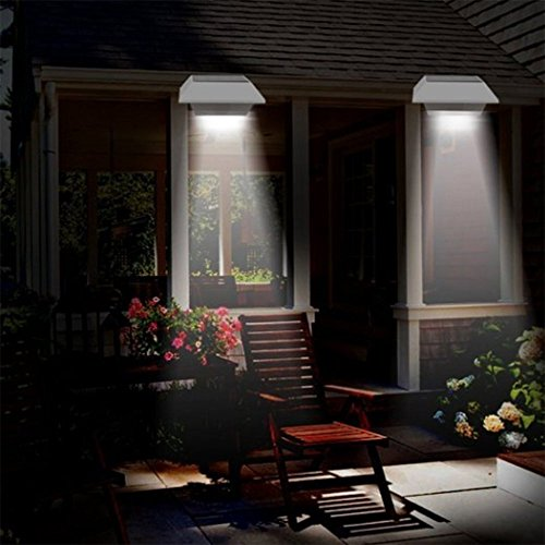 Lite Bracket 2 Wall - Solar Gutter Lights, T-SUNRISE 6 LED Beads Solar PIR Motion Sensor Security Wall Light for Outdoor Garden, Fence, Dog House, Tree, Stairs Anywhere Safety Lite with Bracket Pack of 2 (6000K White)