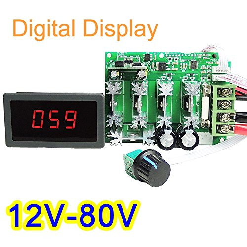 High Power 12V-80V DC 30A Digital Display PWM HHO RC Motor Speed Controller
