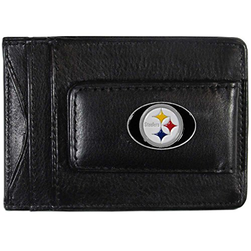 (NFL Pittsburgh Steelers Leather Money Clip Cardholder)