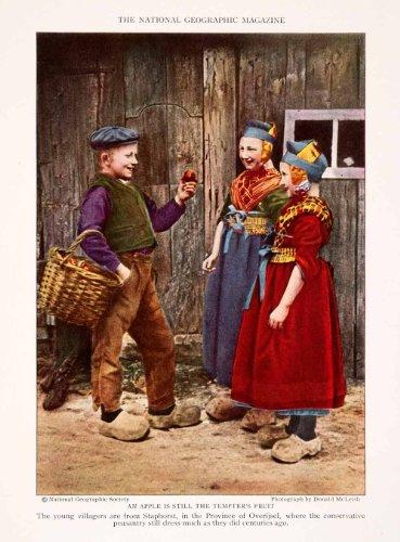 1929 Color Print Staphorst Overijsel Holland Peasant Children Cultural Costume - Original Color (Mc Donalds Costumes)