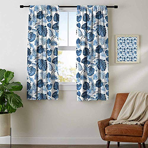 Victory Pattern Valance - Mozenou Hawaii, Curtains x Pattern, Branch of Arecaceae Tree Polynesian Symbol of Triumph and Victory Spring, Curtains Kitchen Valance, W96 x L72 Inch Cobalt Blue Baby Blue