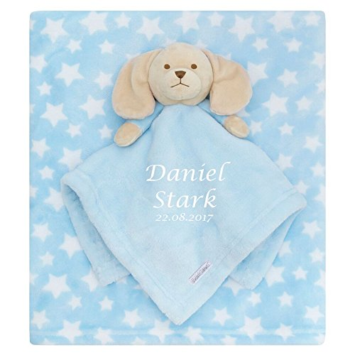 Personalised Embroidered Baby Comforter Blue Puppy + Blanket Gift Set Baby Boy