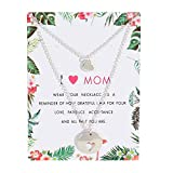 Loweryeah Lady's Hollow Heart Pendant Double Layer Necklace Mother's Day gift