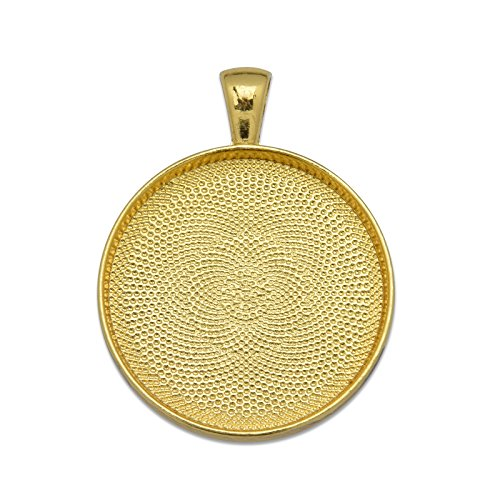 MAXENVISION 30mm Round Pendant Tray Blank Base Cabochon Base fit 30mm Round Cabochon Pack of 20 (Gold Plated)
