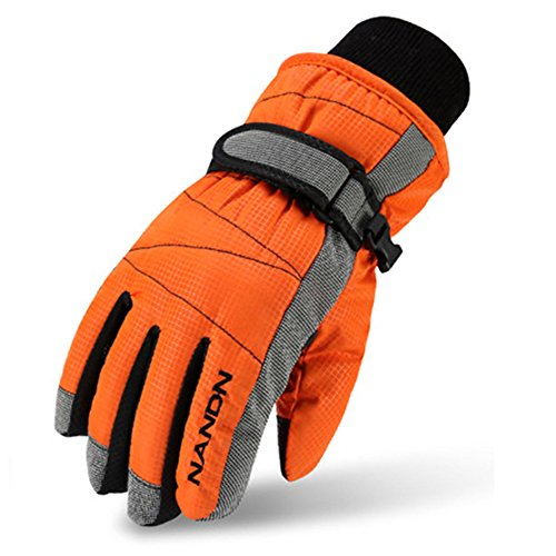 (Magarrow Kids Winter Warm Windproof Outdoor Sports Gloves For Boys Girls (Orange,Medium (Fit kids 8-10 years old)))