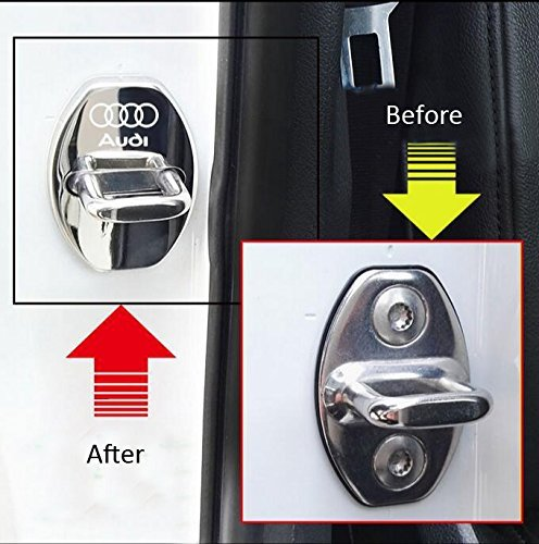 DEMILLO Stainless Steel Car Door Lock Latches Cover Protector for For AUDI A1 A4 A5 A6 A7 A8 Q3 A3 Q5 Q7 Car Blue 3M Adhesive Backing( Pack of 4)