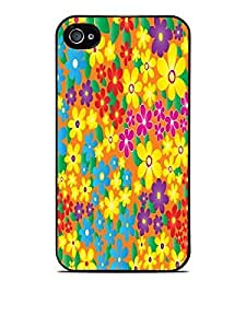 Yellow Blue Pink Purple Flowers Black Hardshell Case for iPhone 4 / 4S by icecream design