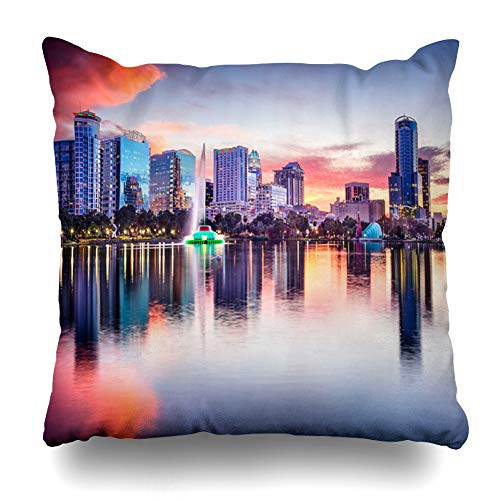 Ahawoso Throw Pillow Cover Square 18x18 Fl American Orlando Florida USA Skyline EOLA Water Lake Parks Night Financial Downtown City Cityscape Scenic Zippered Cushion Case Home Decor Pillowcase